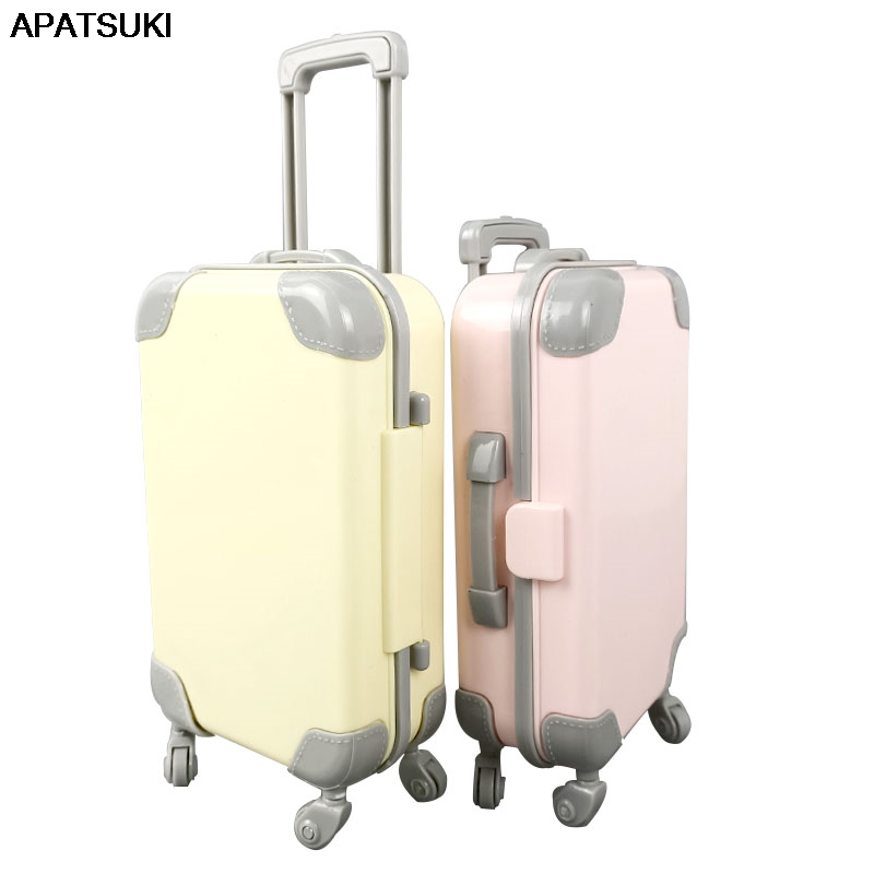 Yellow Pink Plastic Travel Luggage Case Trunk Mini Suitcase Doll Accessories for Barbie Dollhouse Playhouse Furniture Kids Toy
