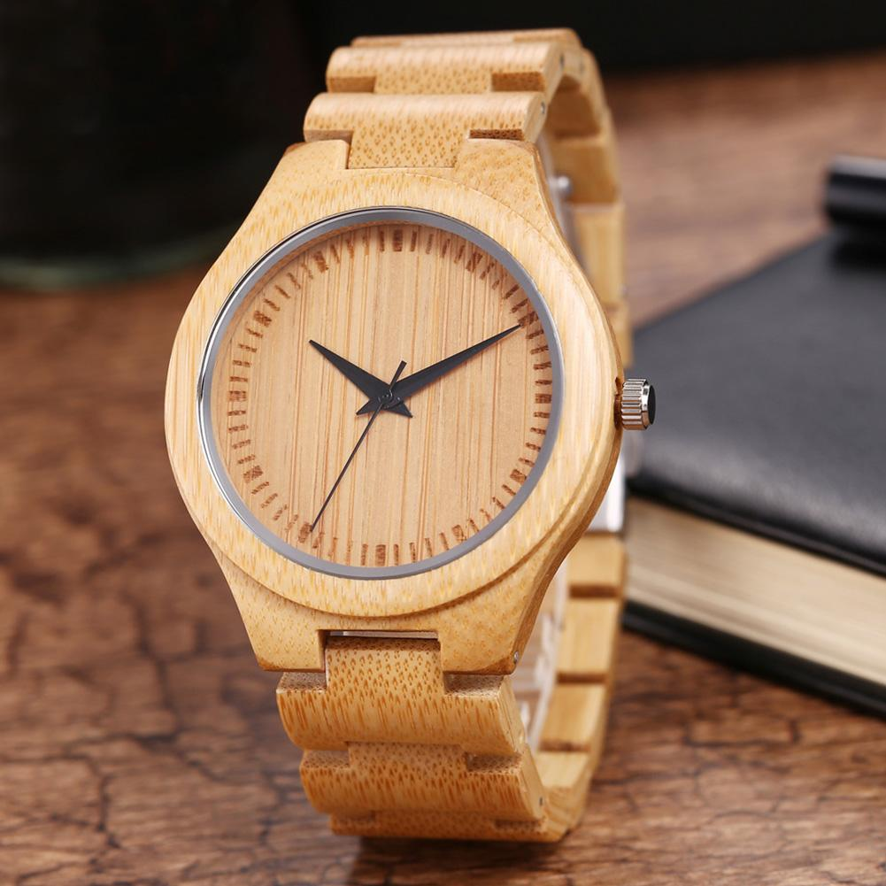 Top Brand Quartz Watch Japanese Explosion Men Durable Bamboo No Numbers Round Dial Wooden Analog Gift zegarek damski