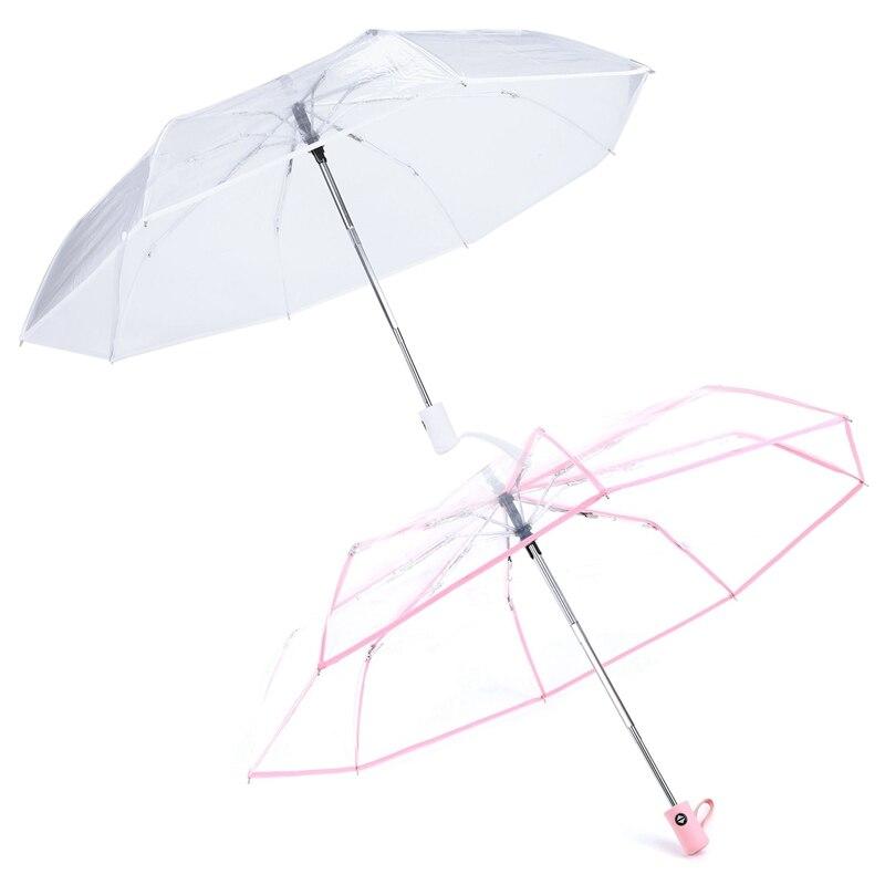 2Pcs Transparent Automatic Umbrella Rain Women Men Sun Rain Auto Umbrella Compact Folding Windproof Style Clear Umbrella,Transpa
