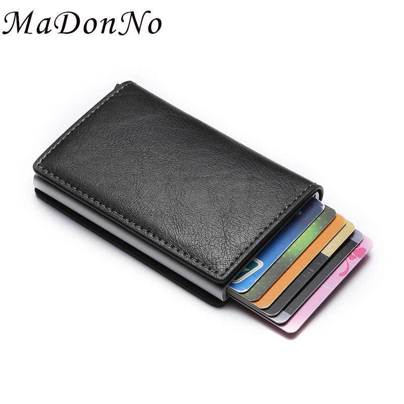 Karta rfid portfel na pieniądze skóra Metal mężczyźni Slim cienki portfel składany portfel mężczyzna kobiet portfel kieszonkowy pieniądze i klipy 2019