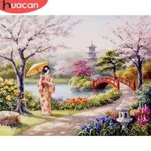 Pintura de HUACAN por número de flores fotos por números Kits de paisajes dibujo sobre lienzo pintado a mano pintura al óleo de arte regalo decoración para el hogar
