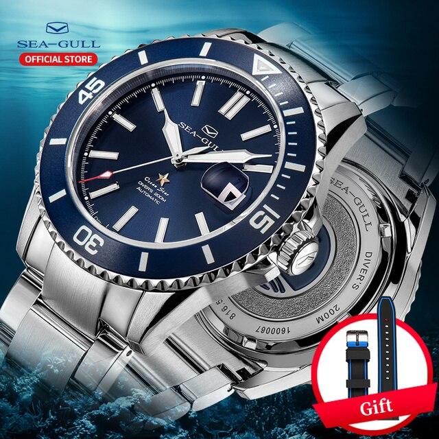 Seagull relógios mecânicos automáticos masculino fashions relógio de negócios safira sintética cristal 200m à prova de água relógio 816.523