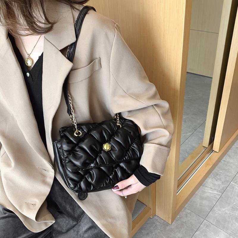 Quilted Leather Women Shoulder Messenger Bag Bolsas Mujer Solid Color Crossbody Quilted Lattice Pattern Messenger Satchel Bags
