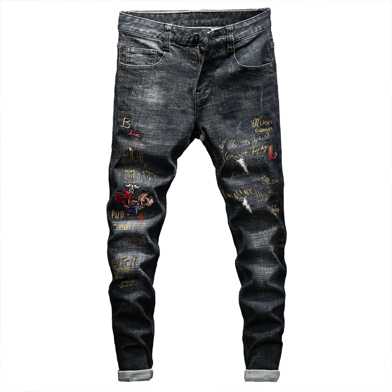 POVOTE 2020 Spring And Autumn New Embroidered Jeans Trend Korean Version Trend Shaowes New Small Feet All-around Pants Man