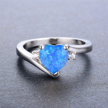 boho female blue opal stone ring dainty round crystal silver wedding rings for women cute bridal love heart engagement ring Boho Female Blue Opal Stone Ring Dainty Round Crystal Silver Wedding Rings For Women Cute Bridal Love Heart Engagement Ring