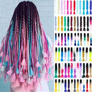 Hair-Extension Braiding Blonde Crochet Goddess Pink Blue Synthetic Kanekalon Long Ombre