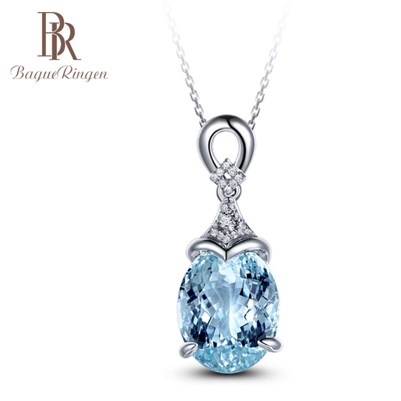 Bague Ringen Necklace For Women Silver 925 Jewelry Clavicle Chain Aquamarine Pendant Mermaid Ocean Valentine Fashion Gift