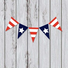 USA Burlap Banner America Flag Fourth Of July Bunting Hanging Pennant Garland Party Supplies