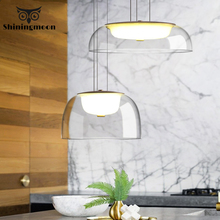 Nordic Transparent Glass LED Pendant Lights Modern Iron Pendant Lamp Dining Room Kitchen Hanging Lamp Home Decor Light Fixtures modern nordic rose plant pendant lights led glass hanging lamp for home decor luminaires dining room living room light fixtures