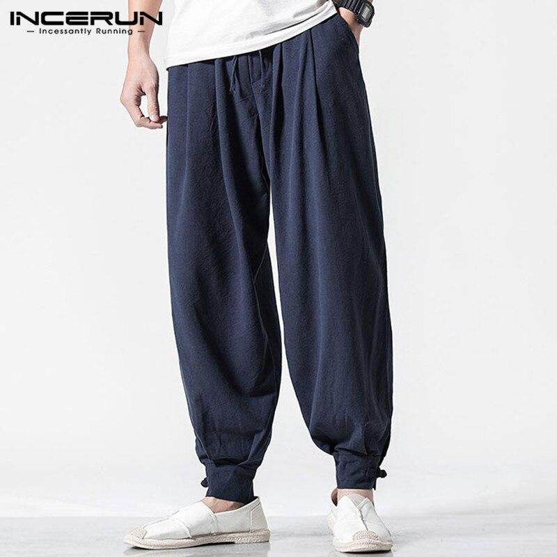 INCERUN Retro Men Harem Pants Cotton 2020 Joggers Solid Loose Workout Sweatpants Elastic Waist Casual Trousers Men Plus Size 5XL