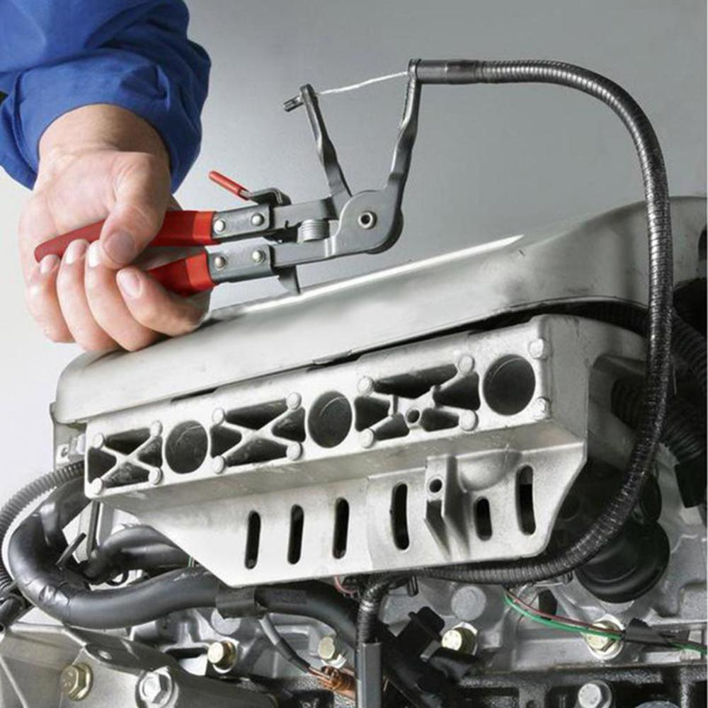 Flexible Wire Long Reach Hose Clamp Pliers Car Fuel Oil Water Pipe Repair Tool