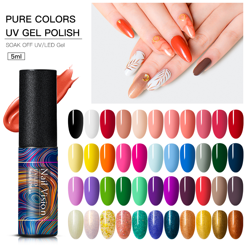 Nail Vision Gel Nail Polish Hybrid Varnishes Nail Polish Semi Permanent Vernis UV Color All Manicured Gel Lak Top Base Primer