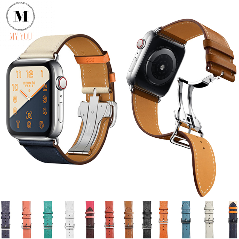 Deployment Buckle Band For Apple Watch 5 4 3 2 1 Bracelet Strap IWatch Series 38/40/42/44mm Swift Leather Sports SmartWatch Band