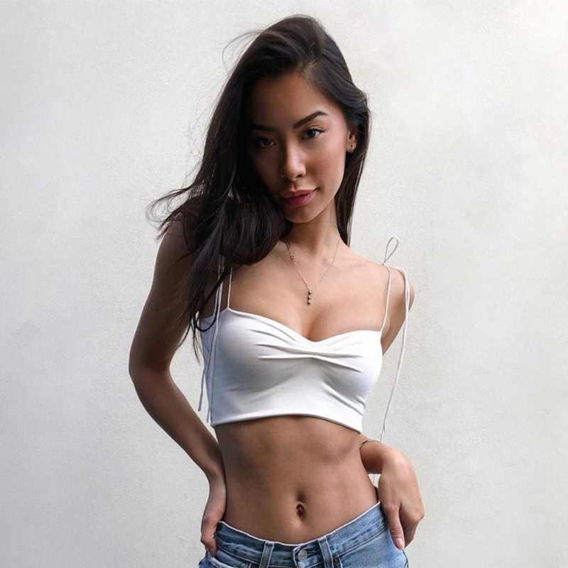 Camisetas sin mangas sexis con cordones para mujer damas verano Simple Color sólido corto exposición ombligo camisola Europea americana 2019
