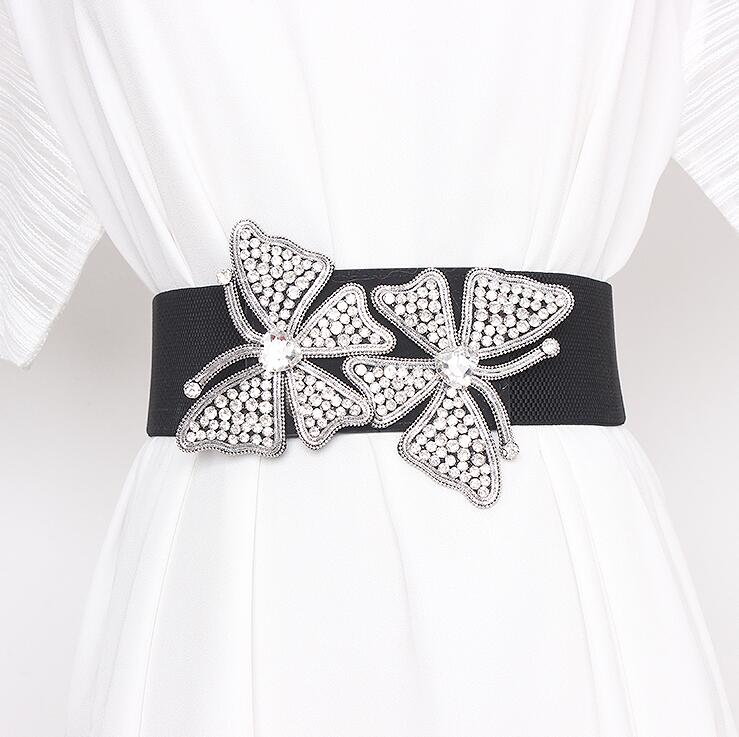 Women's Runway Fashion Rhinestone Butterfly Elastic Cummerbunds Female Dress Corsets Waistband Belts Decoration Wide Belt R2927