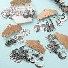 Ethnische Silber Farbe Geometrische Ohrringe Sets für Frauen Mädchen Aussage Schmuck Set Vintage Großen Runden Kreis Ohrringe Lange Metallsteine Quaste Fringe Ohrring Großhandel Dropshipping