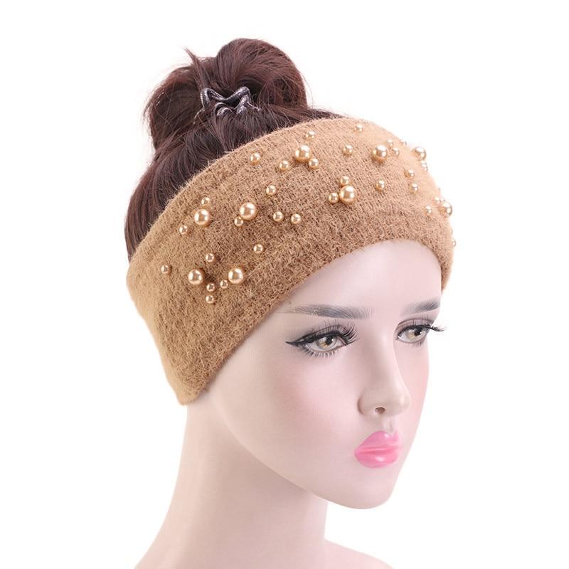 New Autumn Winter Knitted Headband Women Hair Accessories Rabbit Fur Elastic Wide Hair Scarf Hairband Bead Head Band Headwear