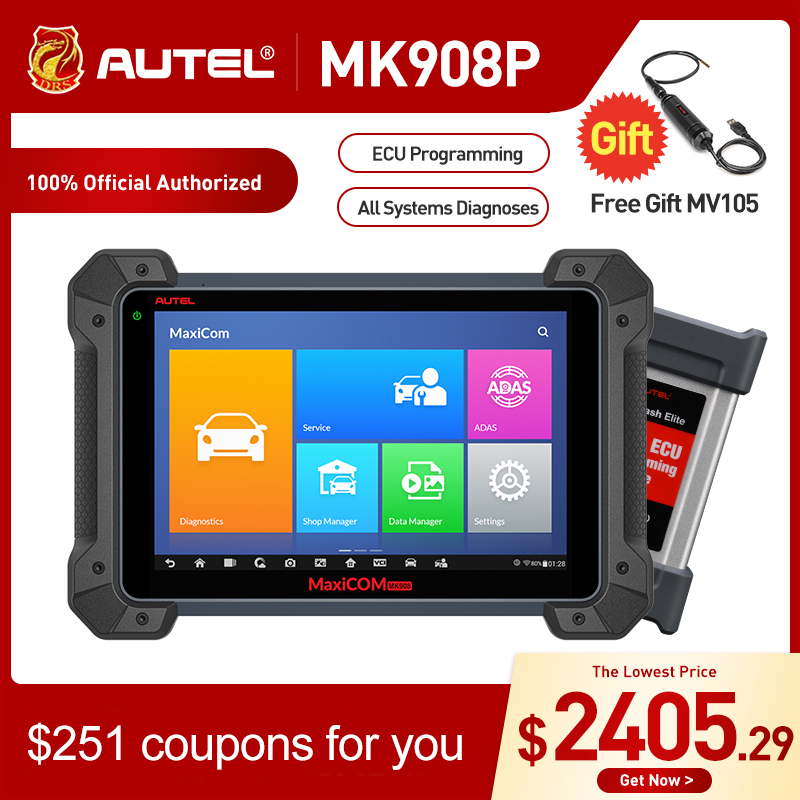 Autel MaxiCOM MK908P MS908P Automotive Diagnostic Tool OBD2 Scanner All System ECU programming J2534 Programmer PK Maxisys Elite-in Engine Analyzer from Automobiles & Motorcycles
