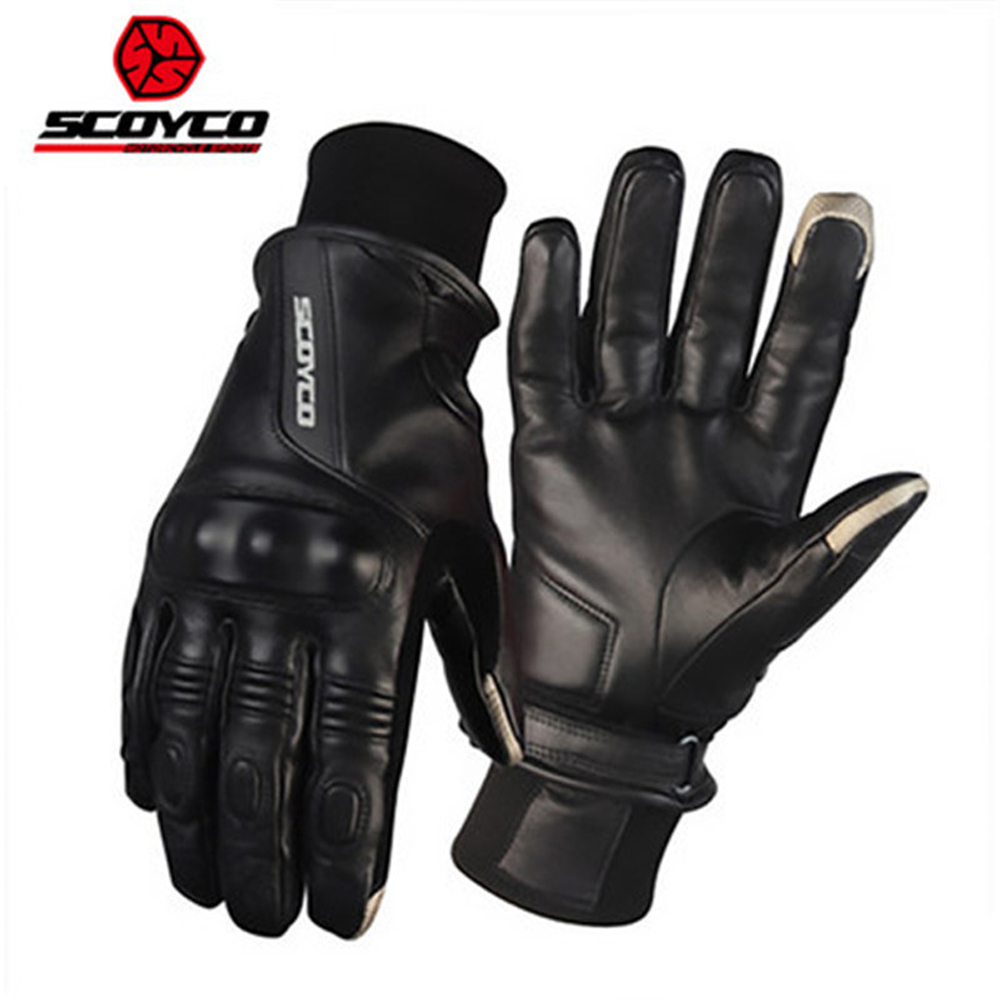 SCOYCO MC31 Goat Leather Motorcycle Gloves For Men Winter Keep Warm Wind Leather Gloves MOTO Racing Touch Screen Gloves