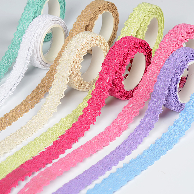 Fabric Cotton Lace Tape Self Adhesive Satin Face Decorative Tape Ribbon Lace Trim For Wedding Decor DIY Embroider