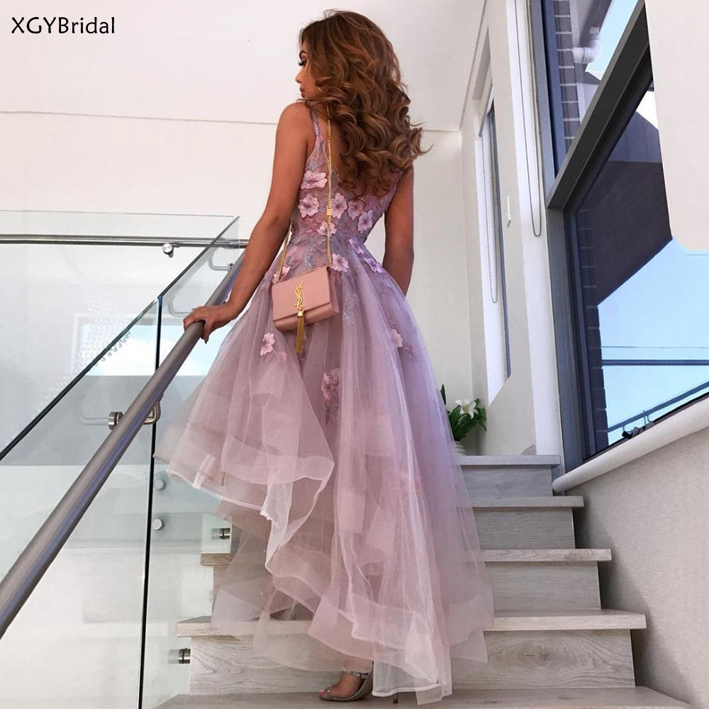 New Short Sexy Prom Dresses 2021 V Neck Lace High Low Appliques Evening Party Gowns Sleeveless Evening Dresses Robe femme платье
