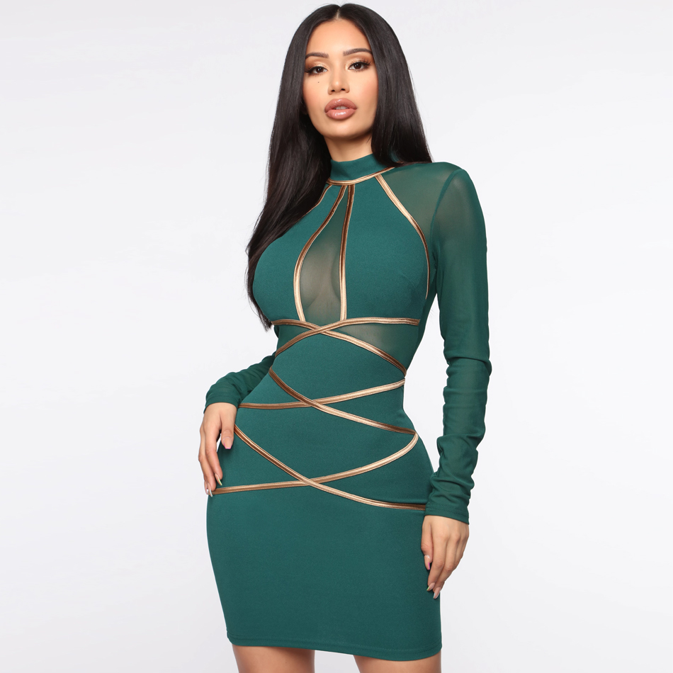 Winter Green Long Sleeve Bodycon Bandage Dress Women Sexy Hollow Out Mesh Mini Dresses Celebrity Evening Runway Party Vestidos