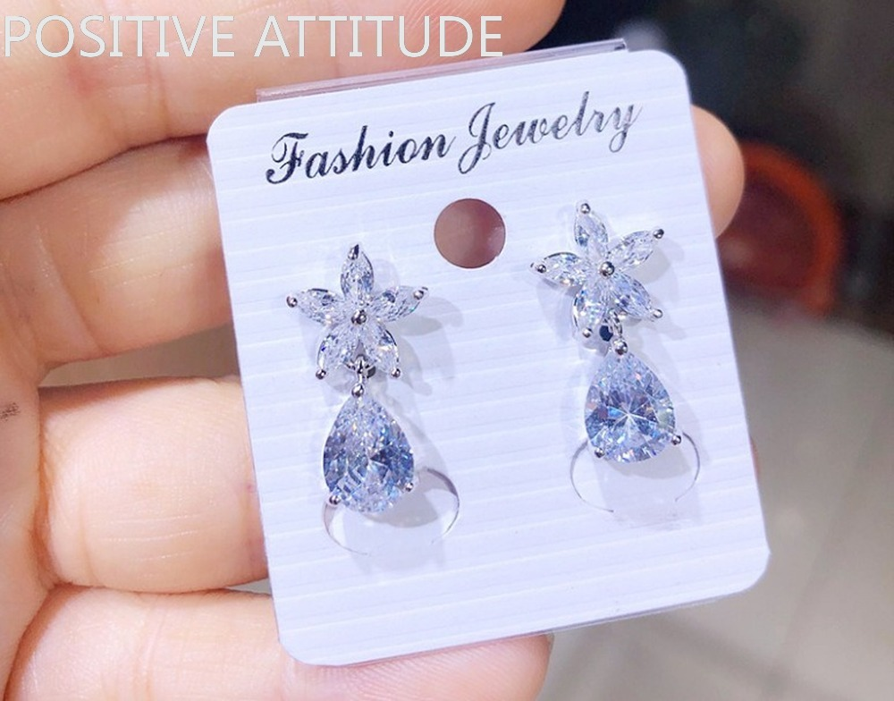 2020 New 925 Silver Flower Shape Three-catch Water Drop Multicolor Zirconia Women Earrings Wedding Party Popular Jewelry Gifts