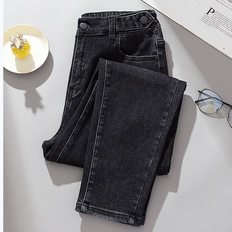 JUJULAND Woman Plus Size Black Jeans Loose Hole Straight Leg Jeans With  Elastic Waistline  High Quality Jeans Harem Jeans 2077