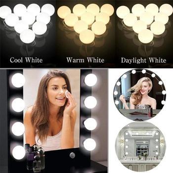 LED 12V lustro do makijażu żarówka Hollywood Vanity Lights bezstopniowa ściemniająca kinkiet 2 6 10 14 szt LED Light do toaletka tanie i dobre opinie alloet Atmosfera ROUND Noc światła Aluminium NONE Żarówki led Przełącznik 12 v HOLIDAY 0-5 w