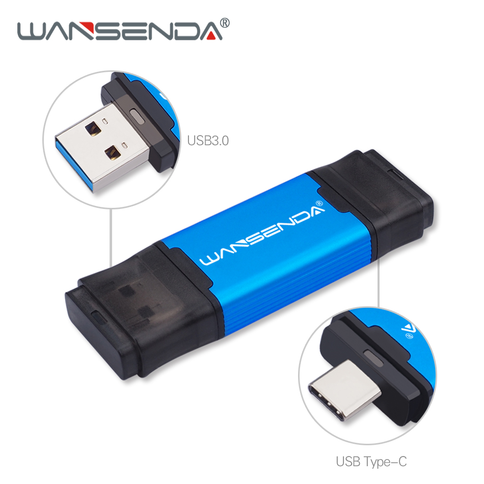 WANSENDA Type-C USB 3.0 Flash Drive 512GB 256GB 128GB 64GB 32GB 2-in-1 Pen Drive For Type-c/PC OTG Pendrive USB Memory Stick