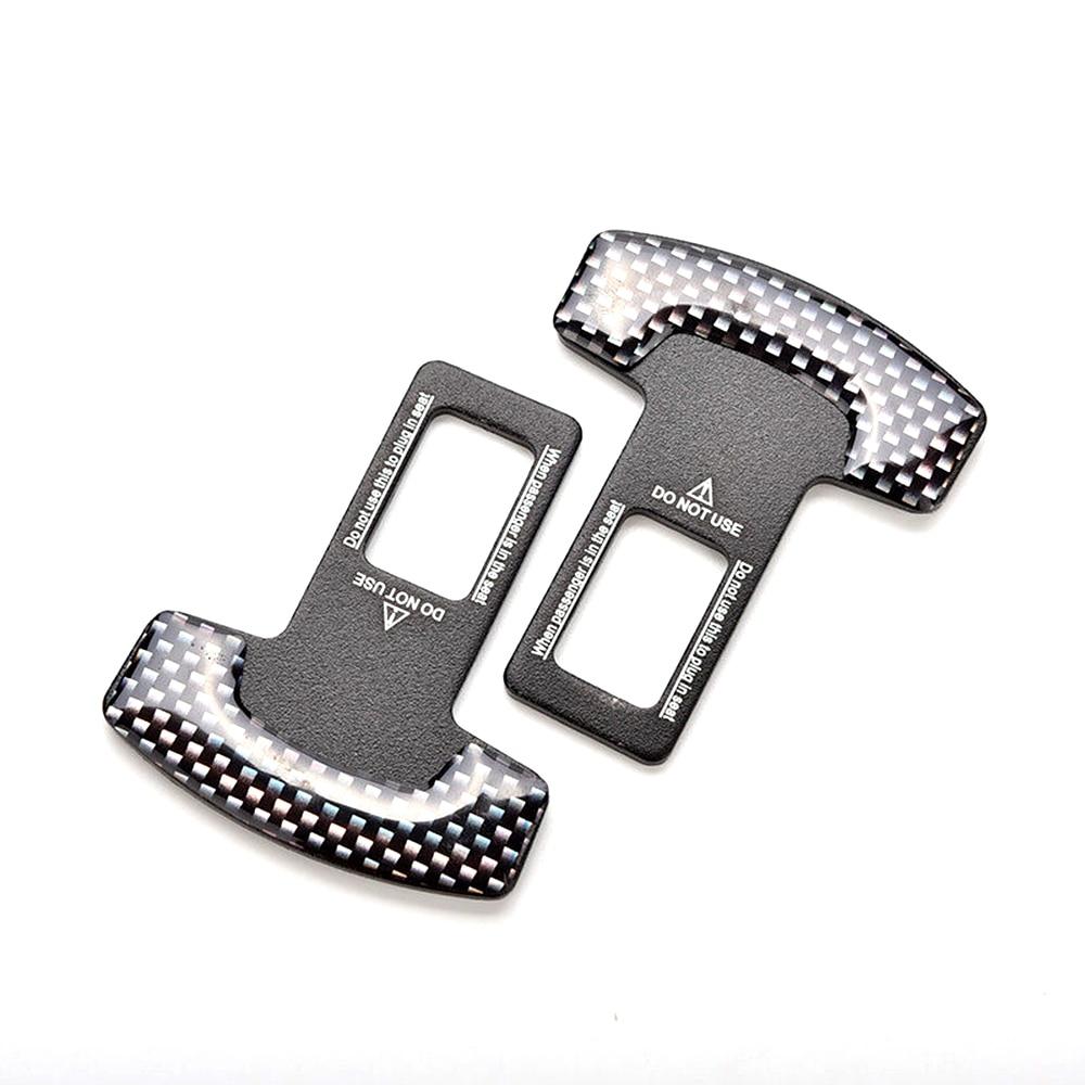 2pcs Universal Carbon Fiber Car Safety Seat Belt Alarm Stopper Buckle Clamp Clip