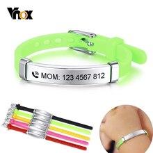 Vnox персонализировать детей ребенка ID браслеты мягкий силиконовый руль из нержавеющей стали детей девочек мальчиков на заказ аварийное имя телефона