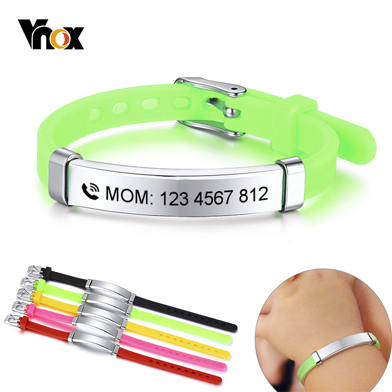 Vnox Personalize Kids Baby ID Bracelets Soft Silicone Rudder Stainless Steel Children Girls Boys Custom Emergency Name Phone