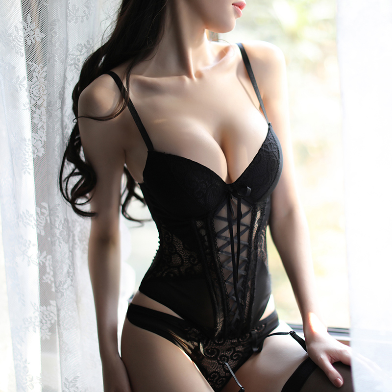Women's Sexy Underwear Elasticity Corset Lace Up Back Sexy Body Overbust with Straps Belt Breathable Fabric Lingerie Bustier
