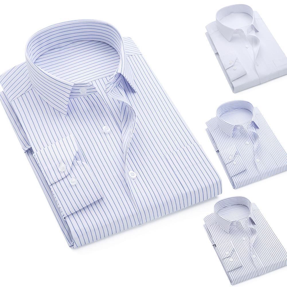 Men Solid Color Long Sleeve Vertical Stripes Print Plus Size Buttons Down Shirt