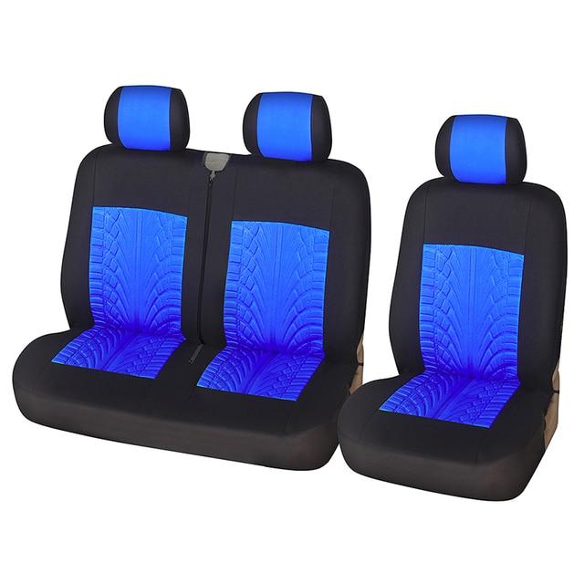 Housses de siège de voiture en Fiber de Polyester, Style rainurant, adaptées aux 2 + 1, housse protectrice pour coffre de voiture