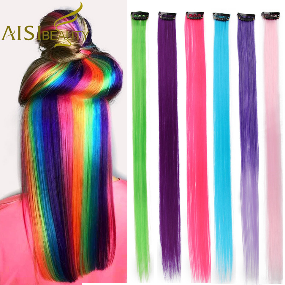 AISI BEAUTY Single Clip In One Piece Hair Extensions Rainbow Colors Synthetic Long Straight Ombre Pink Grey Hairpieces for Women