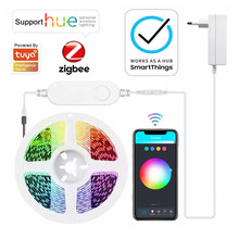 Tuya Zigbee LED Smart Strip DC12V 5M RGB CCT RGBCW Dimmer Controller Works with Smartthings Alexa Echo Plus Google Assistant Hue
