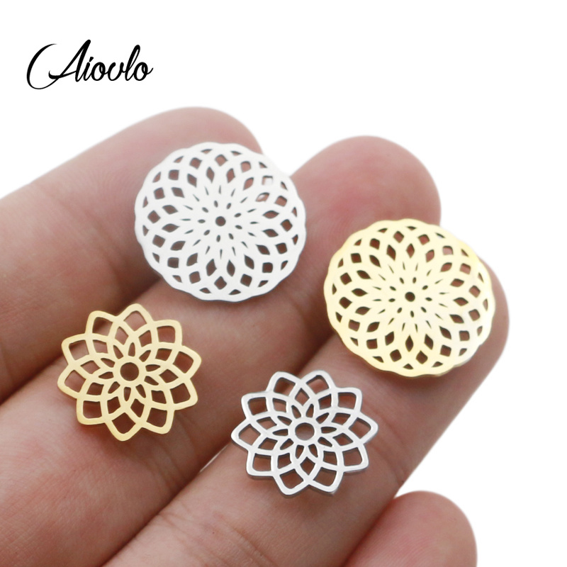 Aiovlo 5pcs/lot Stainless Steel Yoga Lotus Chakra Charm Gold  Round Tag Hollow Lotus Flower Pendant Bracelet & Necklace Craft
