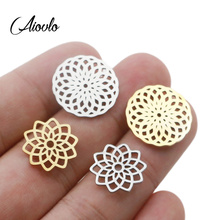 Aiovlo 5pcs/lot Stainless Steel Yoga Lotus Chakra Charm Gold  Round Tag Hollow Flower Pendant Bracelet & Necklace Craft