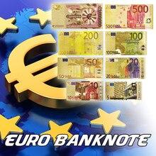 Zestaw kolor metalu pozłacane banknoty EURO 8 sztuk 5, 10, 20, 50, 100, 200, 500 Euro, jeden milion złoty banknot