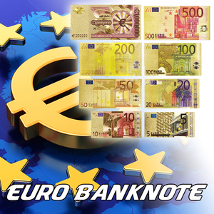 Set of Metal Color Gold Plated EURO BANKNOTES 8 pcs 5, 10, 20, 50, 100, 200, 500 Euro,One Million Gold Banknote