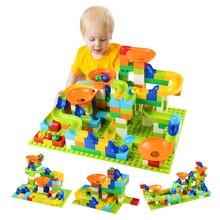 56 224 adet büyük boy tuğla mermer yarış çalıştırmak labirent top parça Diy yapı taşları uyumlu Duploe blok oyuncaklar için çocuk