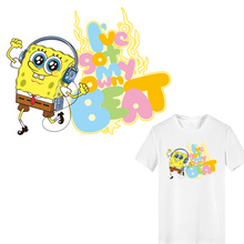 Cartoon Anime Patch Iron on Transfer SpongeBob Patches for Kids Clothing Applique Ironing Vinyl Stickers Stripes Clothes