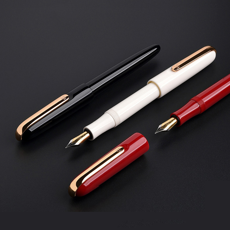 Kaco Fountain Pen With Gift Box Dual Color EF Nib Gold Clip Black Red White Resin Body Ink Pens For Writing Gift Stationery