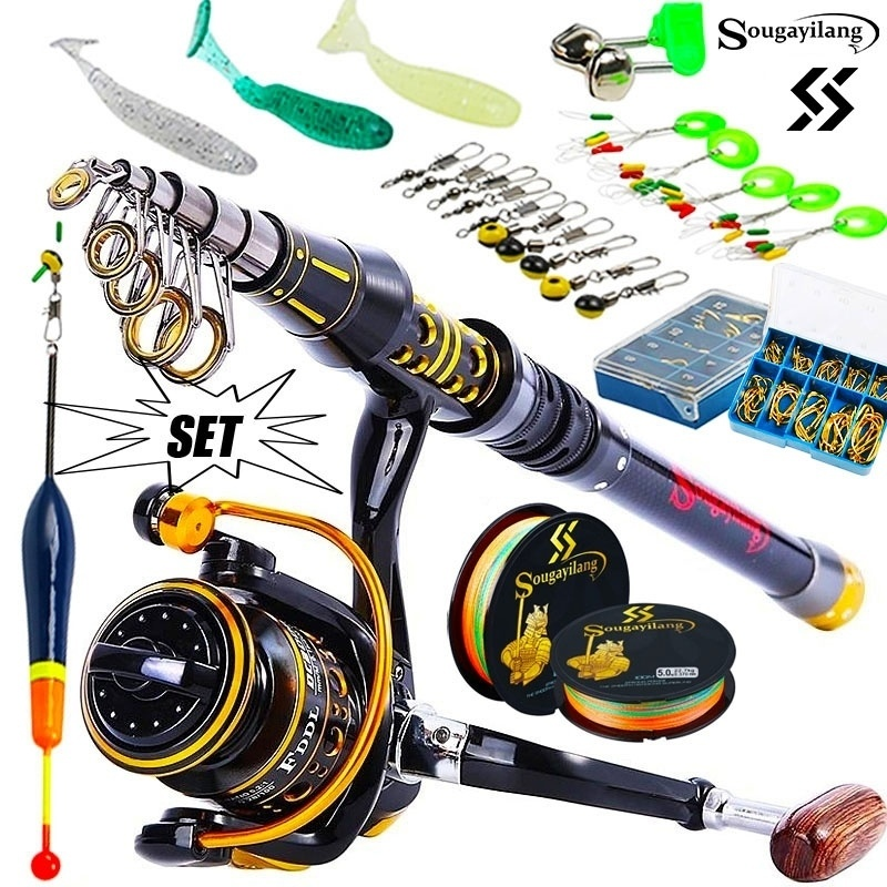 Sougayilang Telescopic Fishing Sea Rod Spinning Reel Fishing Baits Hooks Saltwater Freshwater Professional Fishing Rod Full Kits