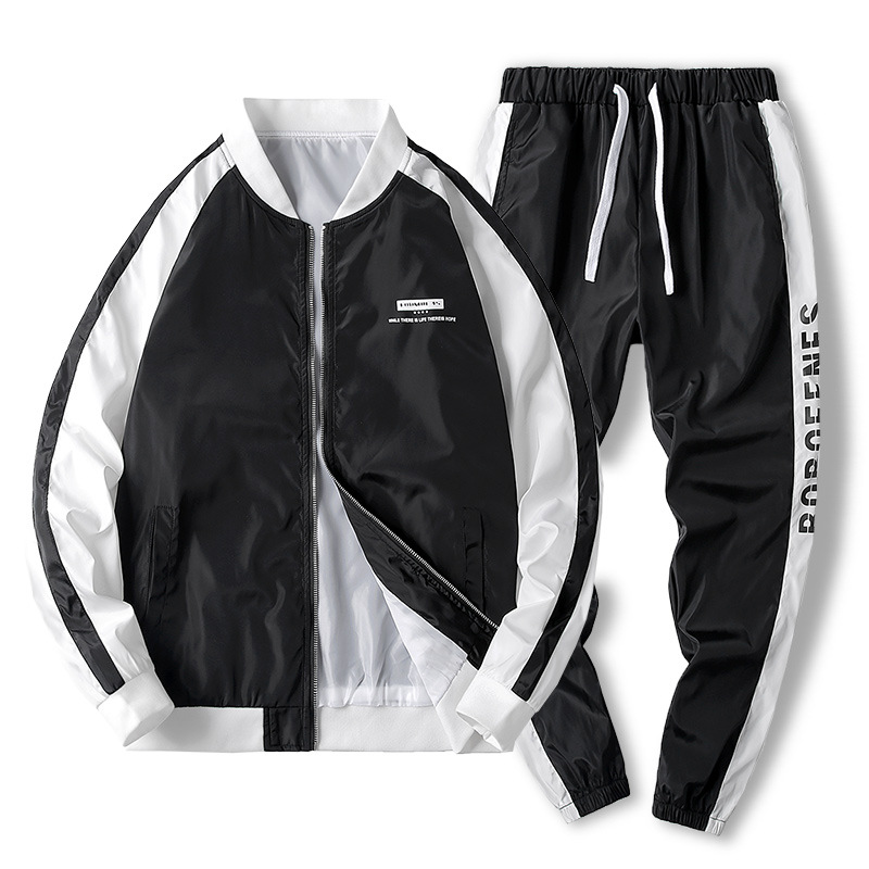 Japanese Streetwear Loose Casual Jacket Sweatpants 2 Piece Set Mens Swaetsuits Bomber Pilot Jacket Tracksuit Men Gym Jogger Set