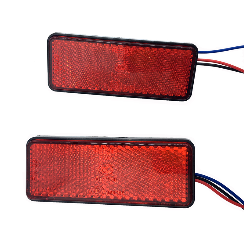 1pcs/2pcs 24LED Rectangle Motorcycle Reflector Tail Brake Turn Signal Light Lamp Car ATV LED Reflectors Truck Side Warning
