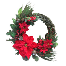Christmas Artificial Wreath Garland American Cotton Wall Hanging Door Rattan Ring Wedding Layout Venue Decoration