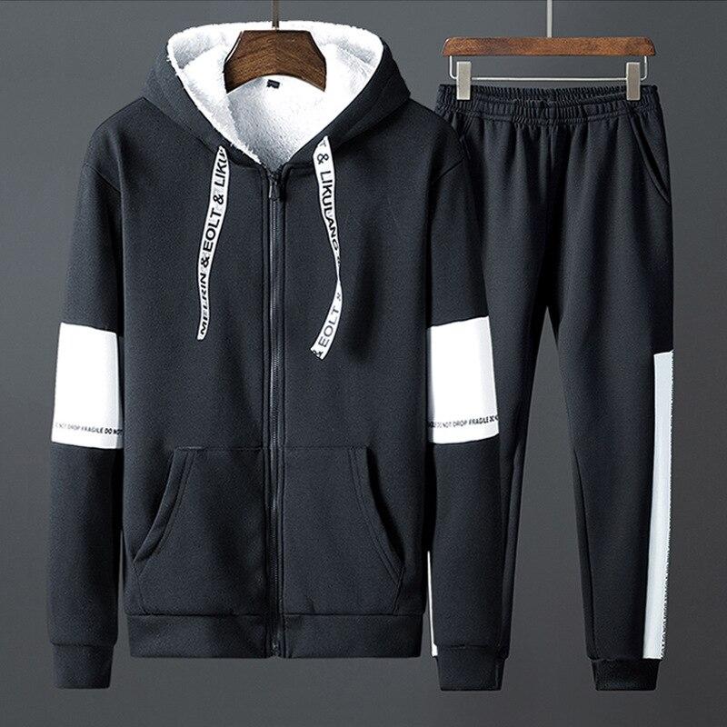 Patchwork cálido traje deportivo hombre interior de lana dos piezas conjuntos con capucha sudaderas con capucha pantalones de chándal FItness ropa de entrenamiento ropa deportiva hombres - 3